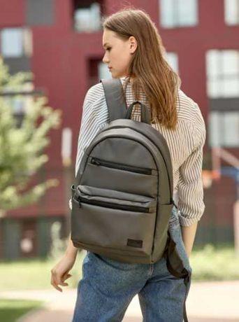 Большой рюкзак женский серый, на каждый день, школьный, городской