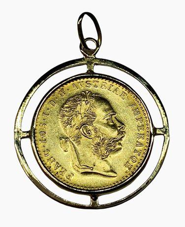 Zawieszka złota z monetą 1 Dukat 1915 rok.