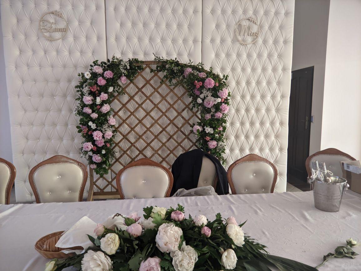 Ścianka na wesele stelaż panel drewniany stojak boho slub mąż żona