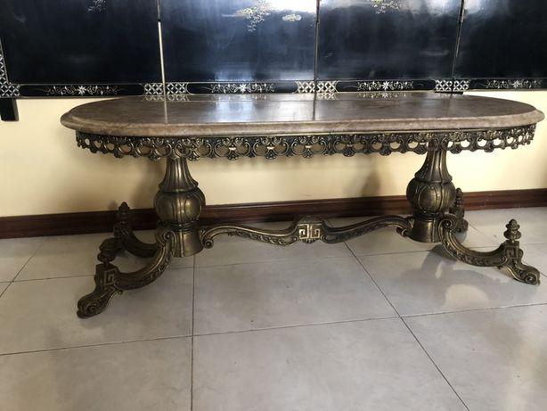 Mesa de centro em marmore latao e cobre