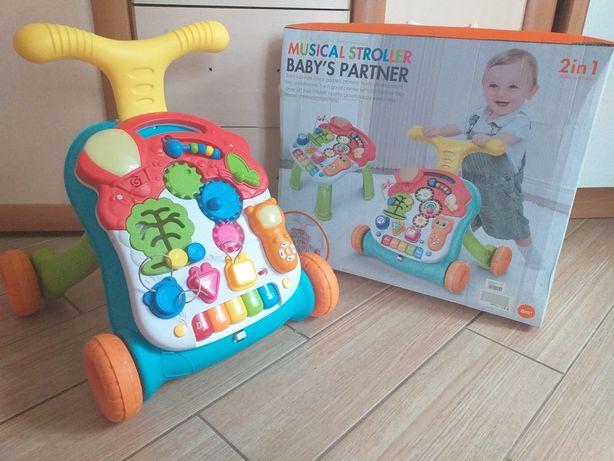 Kolorowy chodzik jeździk, stolik, pchacz z grającym panelem