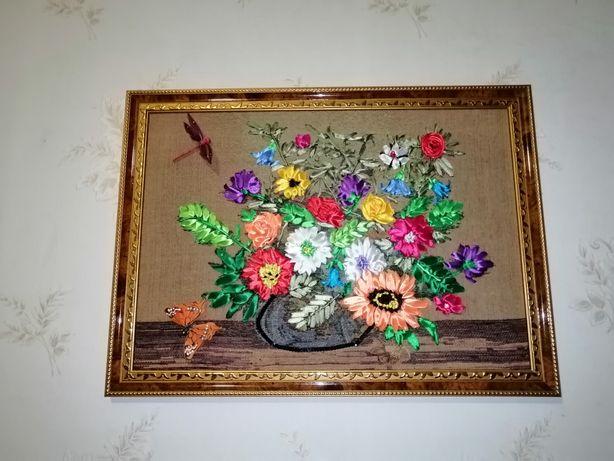 Картина Ручная работа Картина Вышивка лентами