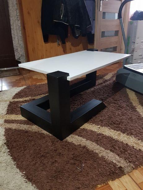 Nowoczesny stolik kawowy 100x50cm Stalowy Blat DĄB