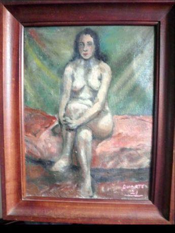 antiga pintura em óleo sobre tela - Nu feminino - DUARTE de 1921
