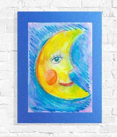 księżyc rysunek a3, obraz z księżycem, grafika do dziecięcego pokoju