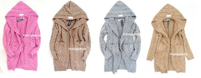 Sweter wełniany narzutka Kardigan wełna KAPTUR typ cocomore warkocz