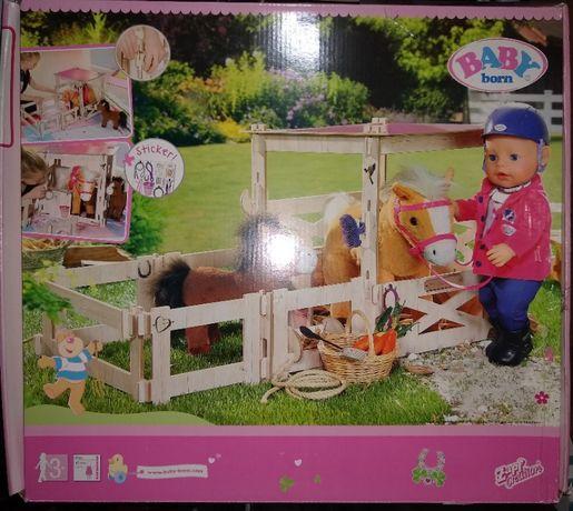Baby Born drewniana stajnia zagroda dla koni, zapf creation 822357