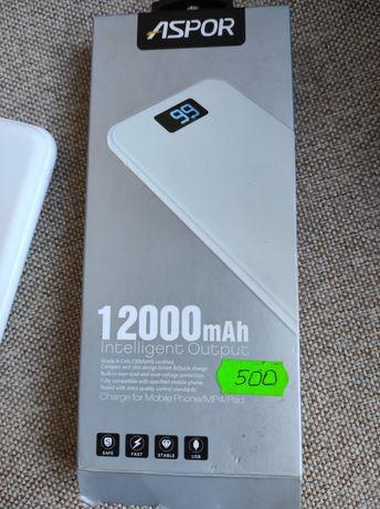 Power bank Aspor 12000 mAh новый внешний аккумулятор