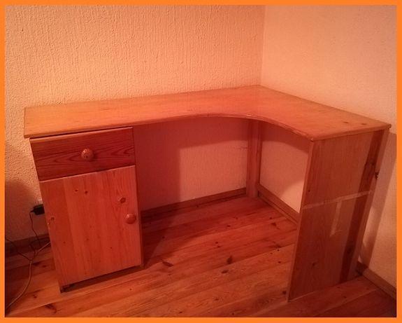 Narożne biurko sosnowe DUŻE z szafką szufladą DREWNIANE