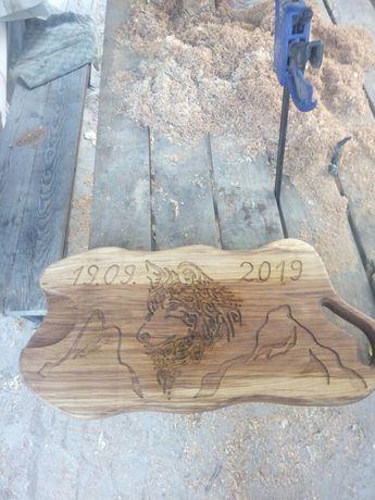 Поднос із дерева (ручна робота ,матеріал підноса -дуб)