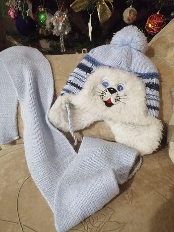 Комплект шапка і шарф, шапочка и шарфик