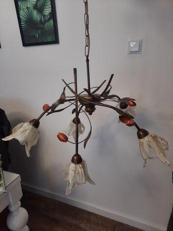 Lampa wisząca żyrandol piecioramienna