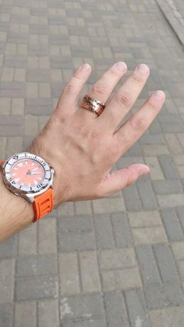 Авторское кольцо в стиле стимпанк. Серебро и медь