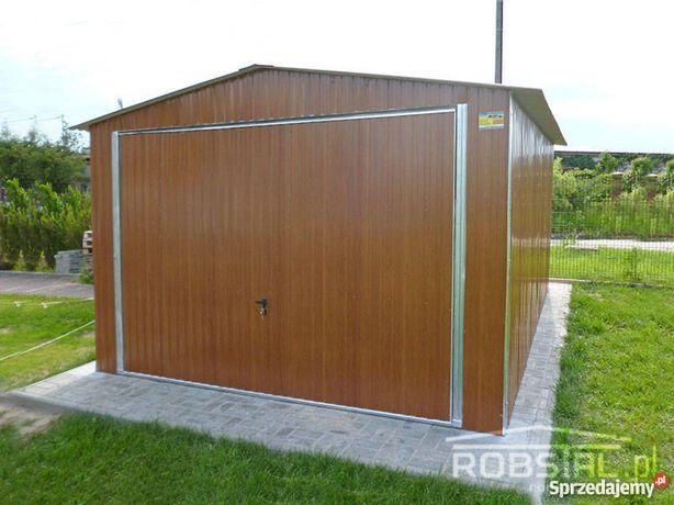 DREWNOPODOBNY Garaż blaszany 3.5x5 z dachem dwuspadowym