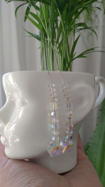 Przepiękne srebrne kolczyki z kryształami Swarovskiego