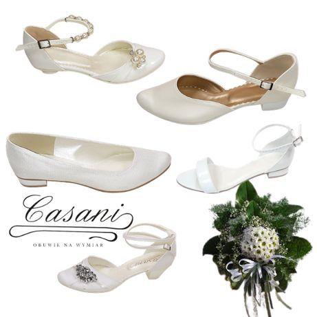 CASANI buty ślubne kolorowe płaskie duże rozmiary 41,42,43,44,45,46