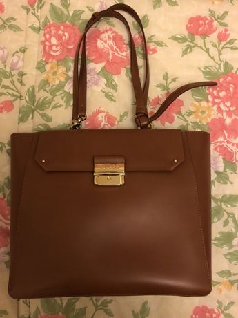 Mala / carteira GUESS Luxe brown leather / pele castanha