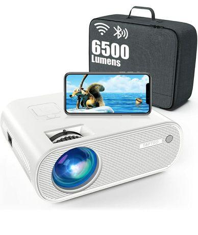 Projetor led 6500 lumens+WiFi+Bluetooth+Mala Transporte/1080P/4k (NOVO