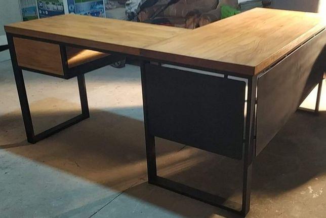 Biurko narożne z szufladą na cichy domyk w stylu loft. Drewno dębowe.