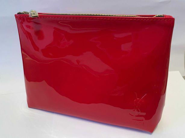 YSL yves saint laurent piękna duża czerwona kosmetyczka