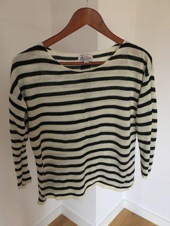 Sweterek w paski czarne białe house S