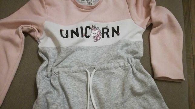 Sukienka dresowa r 110/116, dziewczynka unicorn jednorożec h&m długi