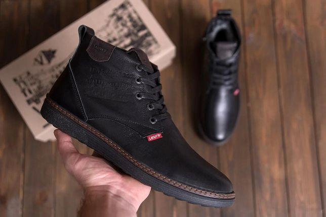 Levis Stage Black |Мужские кожаные ботинки| Зимние кроссовки Левис