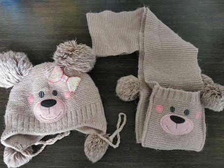 Зимний тёплый комплект шапка и шарф