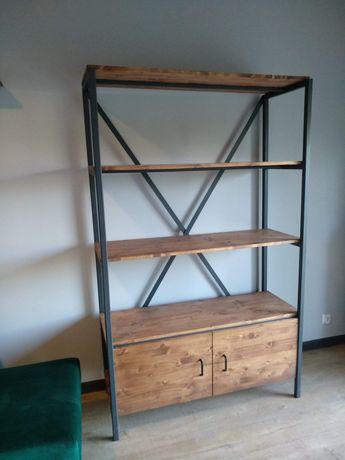 Regał duży loft styl drewno i stal