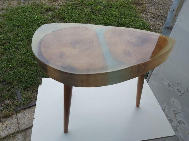 Stół, stolik, ława kawowa, drewno, żywica epoksydowa, plaster, ozdoba