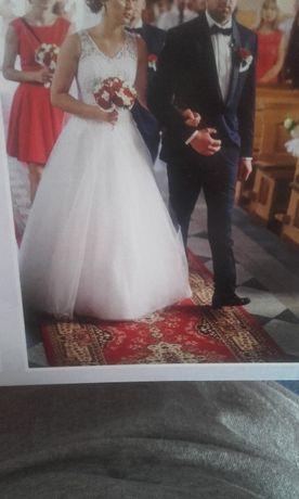 Biała Koronkowa Suknia Ślubna 36/38 na 166 cm + 11 cm obcas