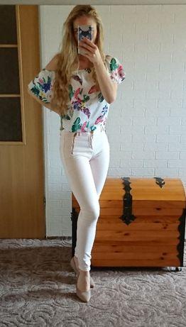 Brzoskwiniowe pudrowe pastelowe spodnie skinny rurki zamki
