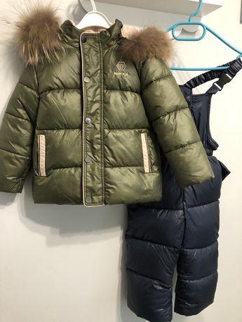 Раздельный зимний комбинезон с мехом енота 92-98