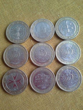 1 и 2 евро, евроценты, монеты регулярные и памятные