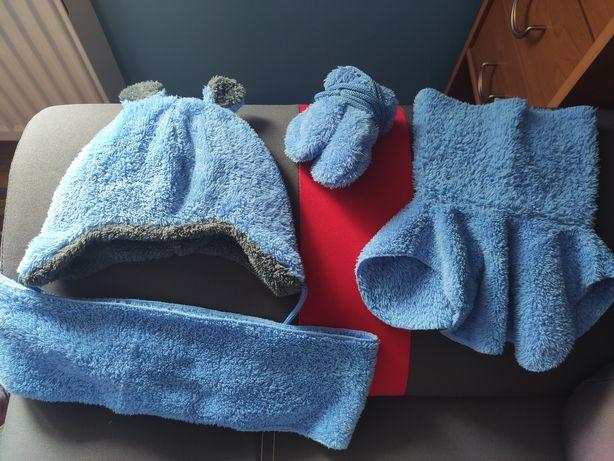 Komplet Miś czapka komin szalik rękawiczki