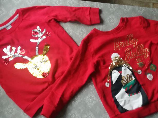 2 cudne bluzy bluzeczki czerwone, cekiny renifer pingwin rozm. 110