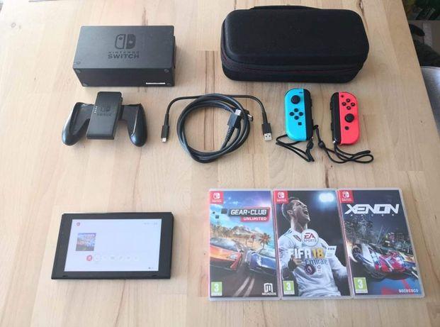 Nintendo switch v1 plus 3 gry