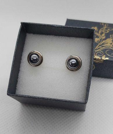 Kolczyki srebrne hematyt pr 925