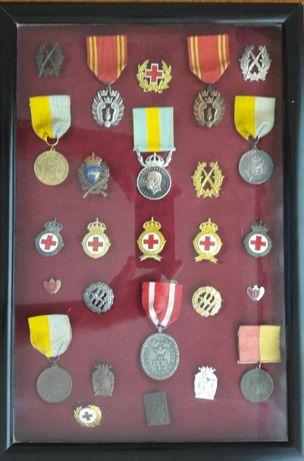 Expositor com 26 medalhas/insignias - Suécia