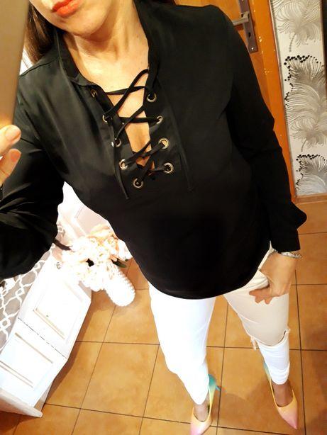Elegancka koszula z wiazaniem na dekolcie zlote guziki S/M okazja