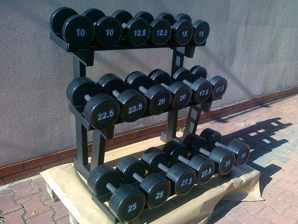 Hantle stałe ogumowane stalowe gumowane 10-30 co 2,5kg stojak 360kg