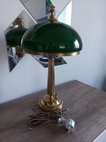 Lampa stojąca z mosiądzu, zielony klosz, elegancka, stan bardzo dobry