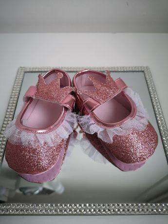 Nowe buciki roczek księżniczka korona brokat