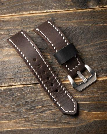 Толстый кожаный ремешок 20 - 22 мм для массивных часов. Ручная работа!