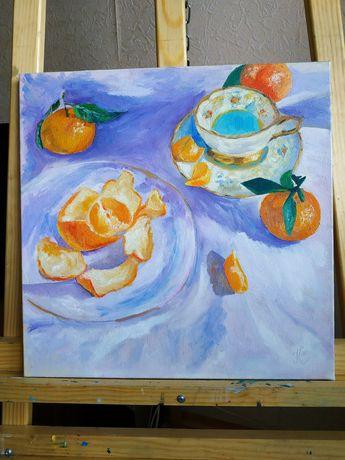 Картина маслом Натюрморт с мандаринами