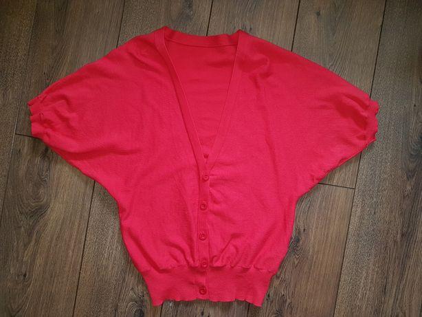 Czerwony sweter czerwień fason nietoperz rozpinany krótki rękaw M