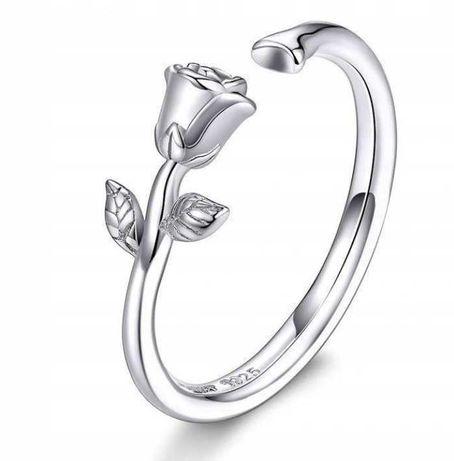 Pierścionek srebrny 925 Róża 3D na prezent do Pandora Apart