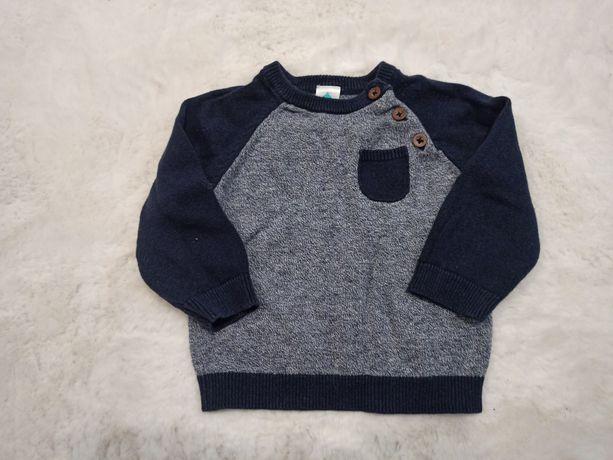 Sweterek dla chłopca granatowy z kieszonką 74/80 9m