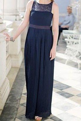 Vestido Comprido Azul Escuro em Renda e Chiffon H&M