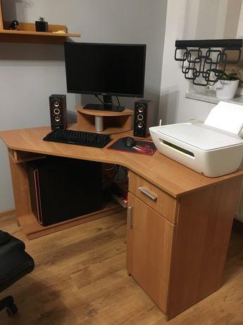 Biurko narożne z podstawką na monitor